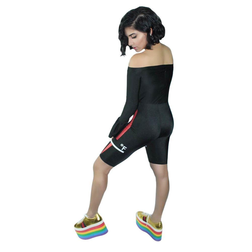 7a2de3b1313b Generic Stylish Off The Shoulder Bell Sleeve Print Women Jumpsuit-BLACK