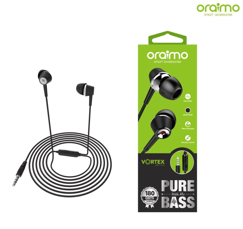 7a8cd91c6ab Oraimo Vortex OEP-E23 AUX Pure Bass Earphone With Mic - Black Price ...
