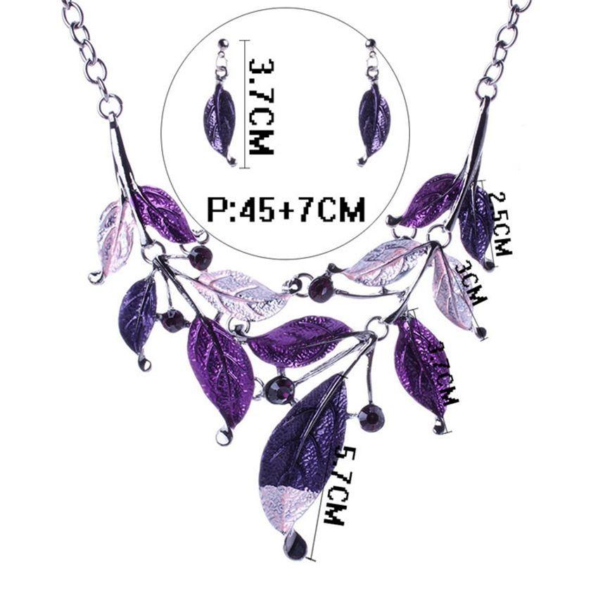 Neworldline Fashion Womens Purple Tree Leaf Enamel Bib Necklace Stud Earrings Set-Purple