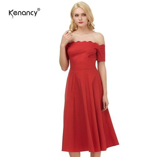 Buy Kenancy Women Vintage Cocktail Party Fit Flare Swing Midi Dress - Red in Egypt