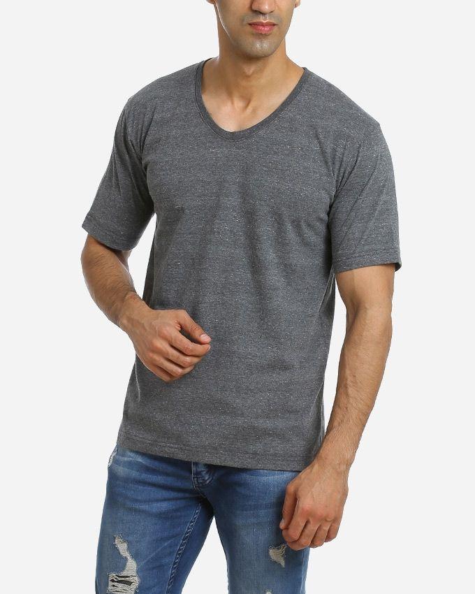 Andora Solid V-Neck T-Shirt - Grey