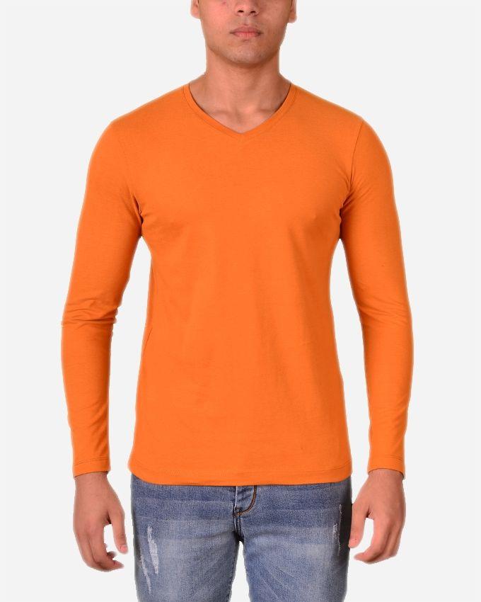 69af587a Town Team Plain V-Neck Long Sleeves T-Shirt - Dark Orange   Shirts ...