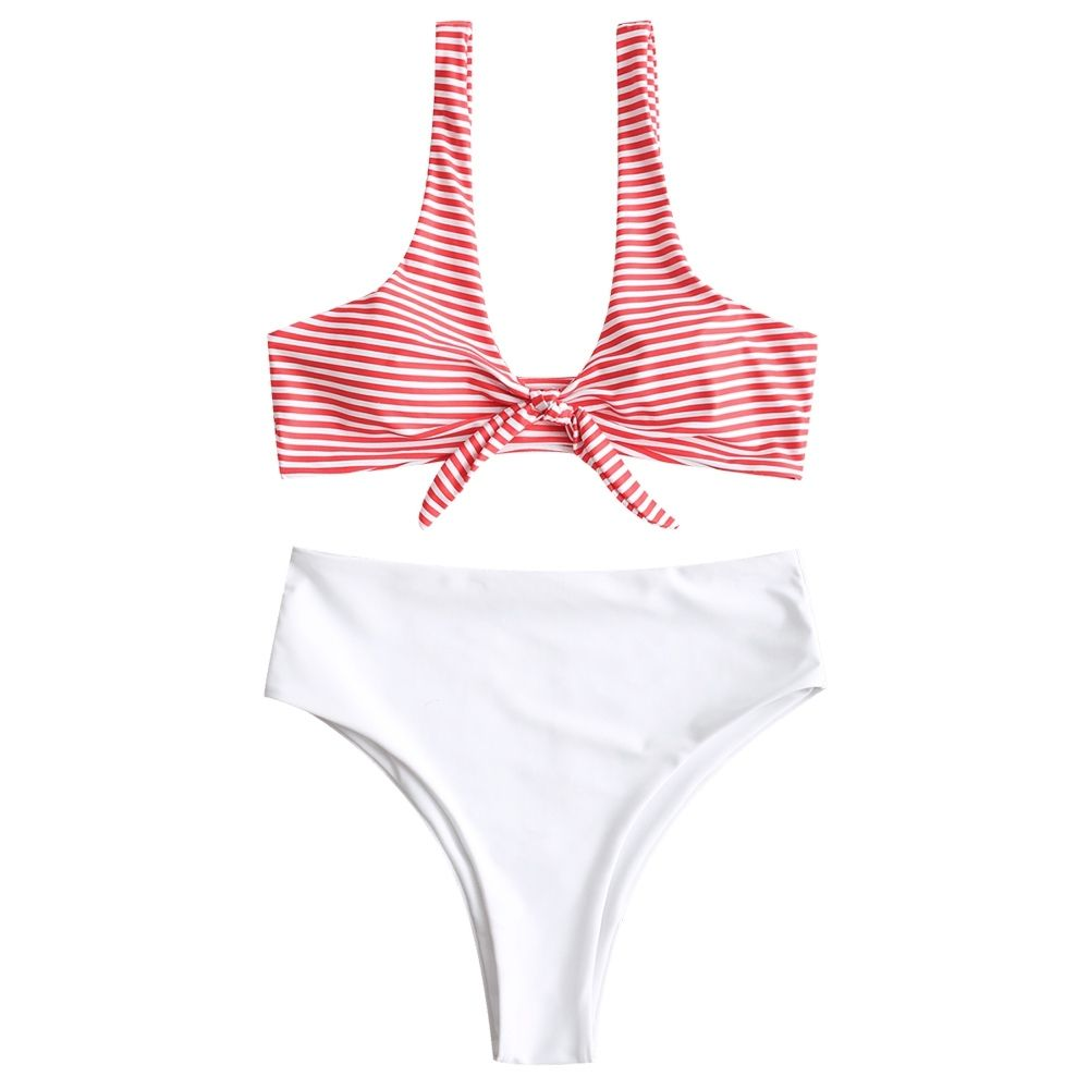 0d5f8234982 Zaful Knotted High Cut Striped Bikini Set - WHITE Price in Egypt ...