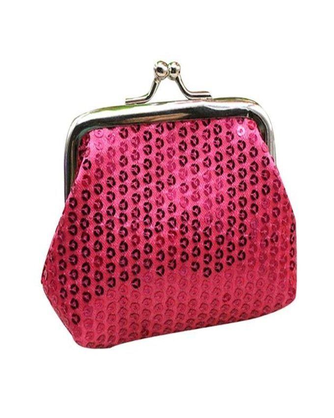 Neworldline Womens Small Sequin Wallet Card Holder Coin Purse Clutch Handbag Bag-Hot Pink