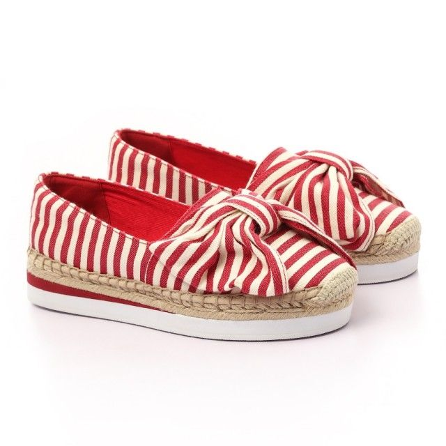 b62f096057a0 ALDO Striped Espadrille Sneakers With Big Bow - Red & Off White