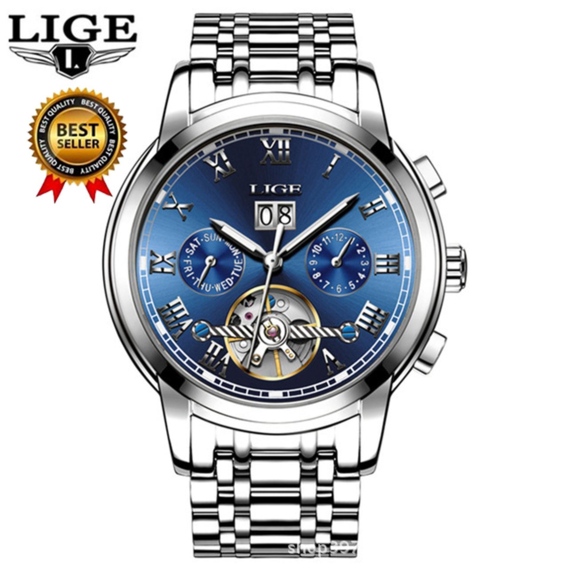 bf5b93ab480 LIGE LIGE Brand Skeleton Mechanical Watch Men Hollow Fashion Luxury ...