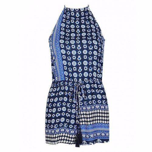 835916c9412c Buy Fashion New Summer Women Vintage Print Fashion Design Strap Jumpsuit  Backless Playsuit Shorts Rompers Blue