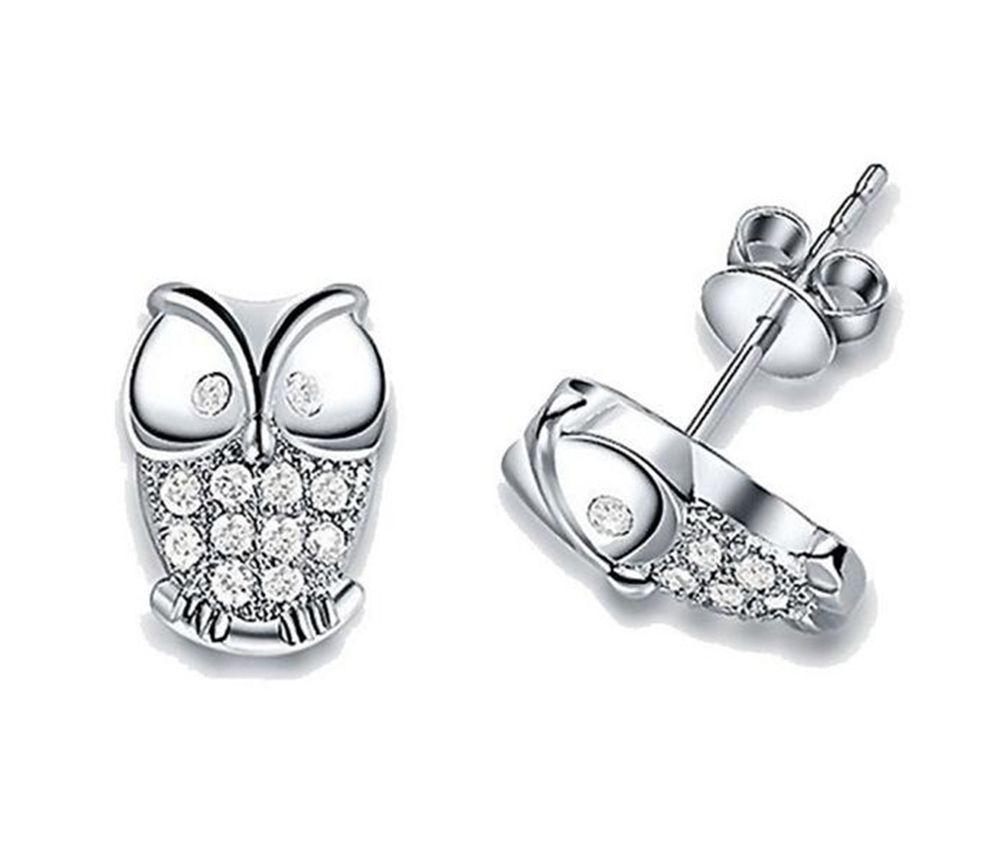 Neworldline 1Pair Fashion Women Shinny Crystal Animal Owl Ear Stud Earrings-Silver