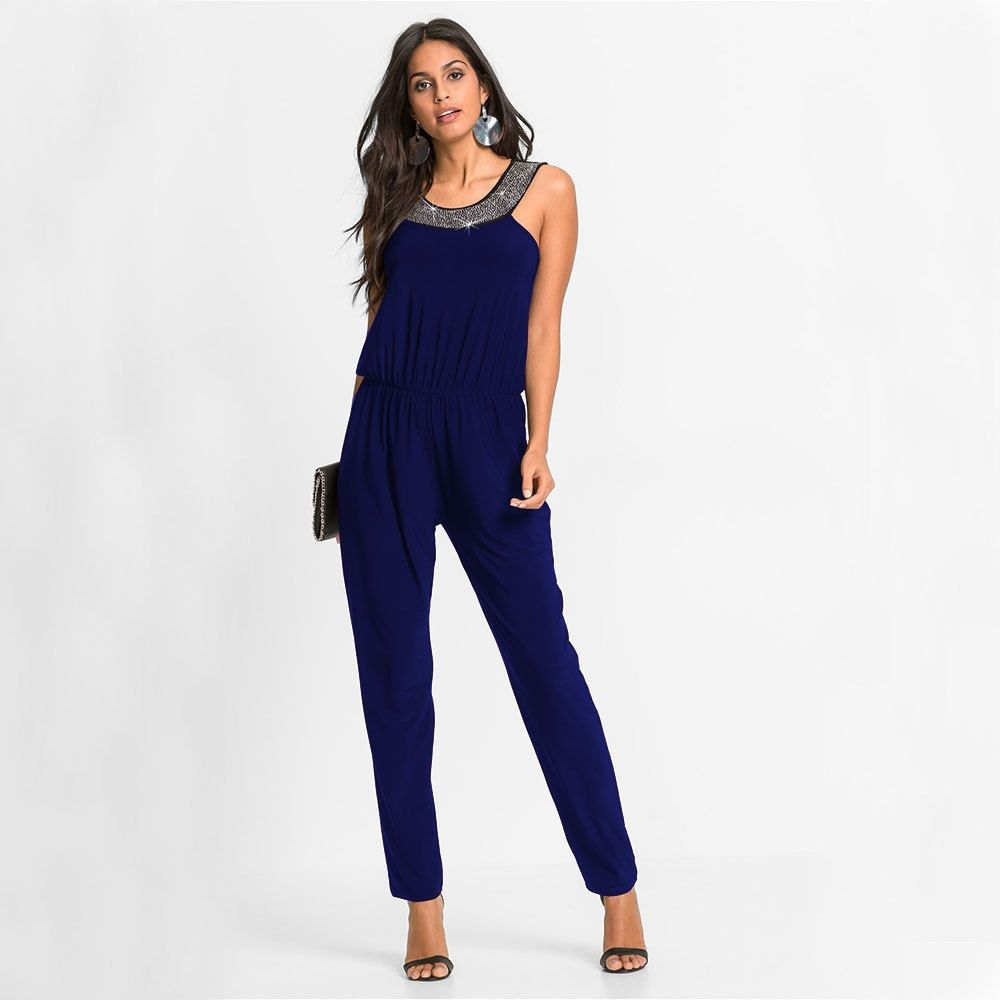 7d7b533b1a111 Generic Women's Leisure Jumpsuits Solid Color Beads Round Neck ...