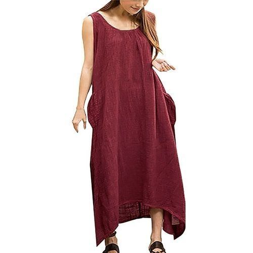0b9a5e7c199 Fashion ZANZEA Summer Boho Women Casual Loose Sleeveless Long Dress Vintage  Pockets Irregular Maxi Dresses Plus Size Vestidos Claret