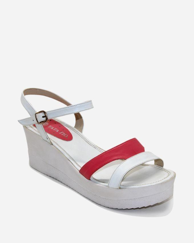 Tata Tio Platform Sandals - White & Fuchsia