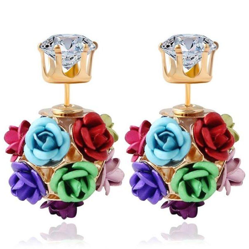 Neworldline New  Fashion Flower Rose Women Girls Crystal Stud Earrings Gift MR-Colour
