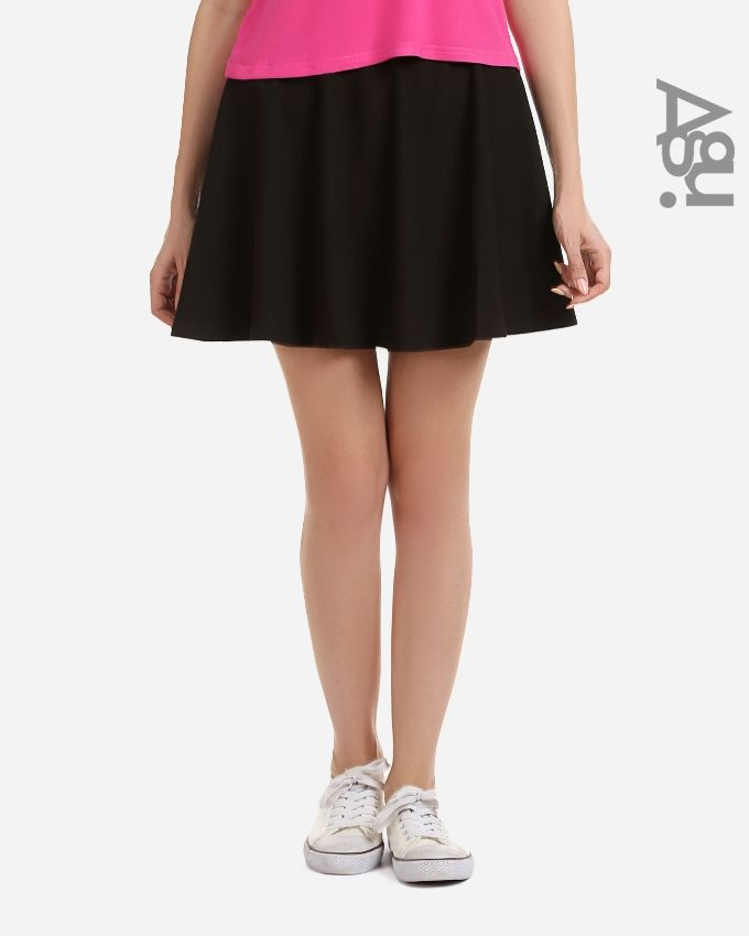 Agu Solid Mini Skirt - Black