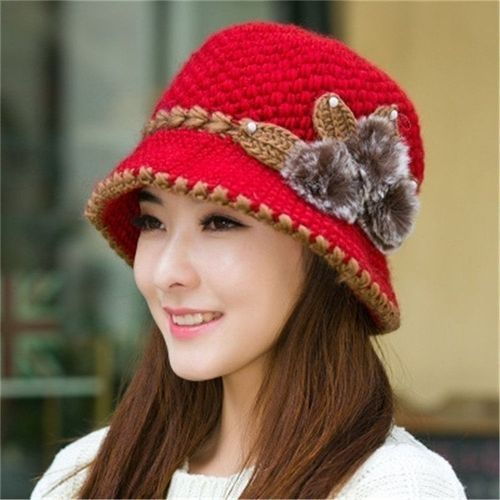efbb4b94dcd Fashion Women Winter Warm Beret Braided Knit Crochet Baggy Beanie Flower Hat  Ski Cap Red