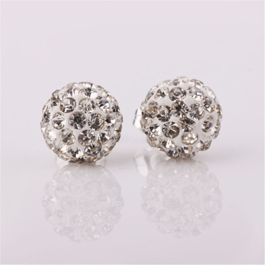 Neworldline Womens Sparkle Round Crystal Ball Stud Earrings For Wedding Party WH-White