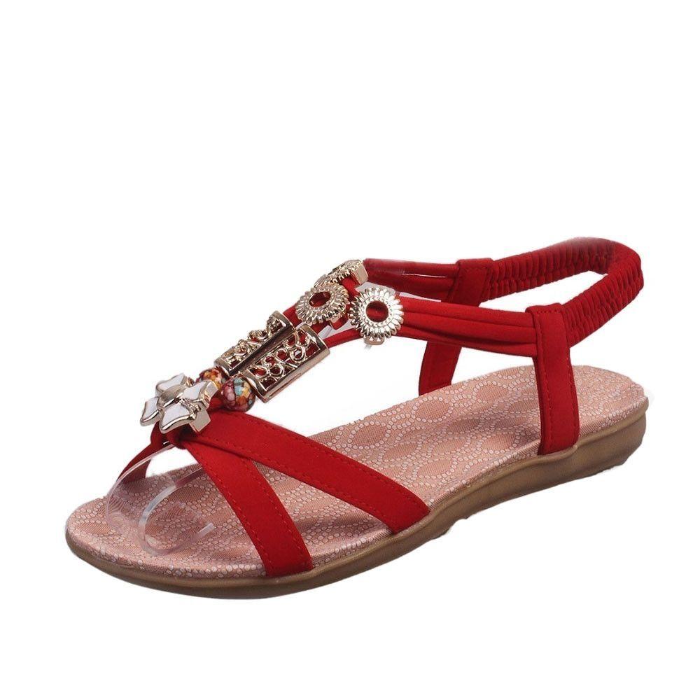 defb7f0d831f85 Neworldline Fashion Women Boho Sandals Leather Flat Sandals Ladies Shoes-  Red