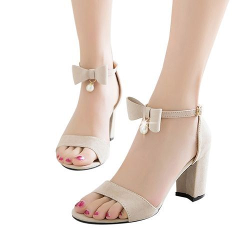 6a2a70595d0 Fashion Bliccol High Heel Shoes Women Fashion Solid Bow Pearl Hasp Round Toe  High Heeled Shoes Sandals Beige-Beige
