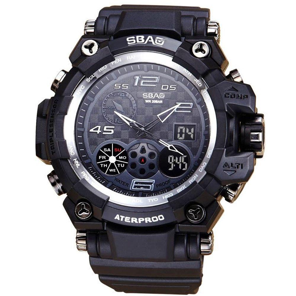 59e38f665 Generic Tectores 2018 Fashion Multifunction SBAO Watch LED Men Waterproof  Sports Watches Shock Digital Electronic