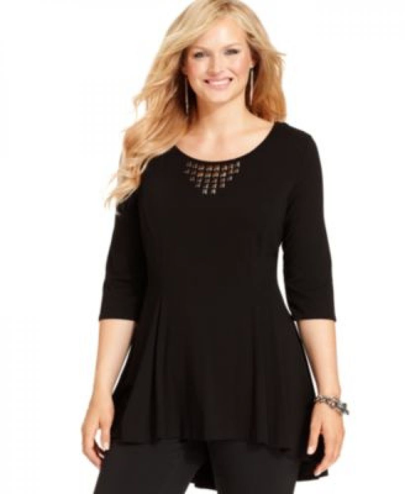 aee65f2ee4a Buy Charlotte Russe NY Collection Plus Size Beaded High-Low Tunic Top in  Egypt