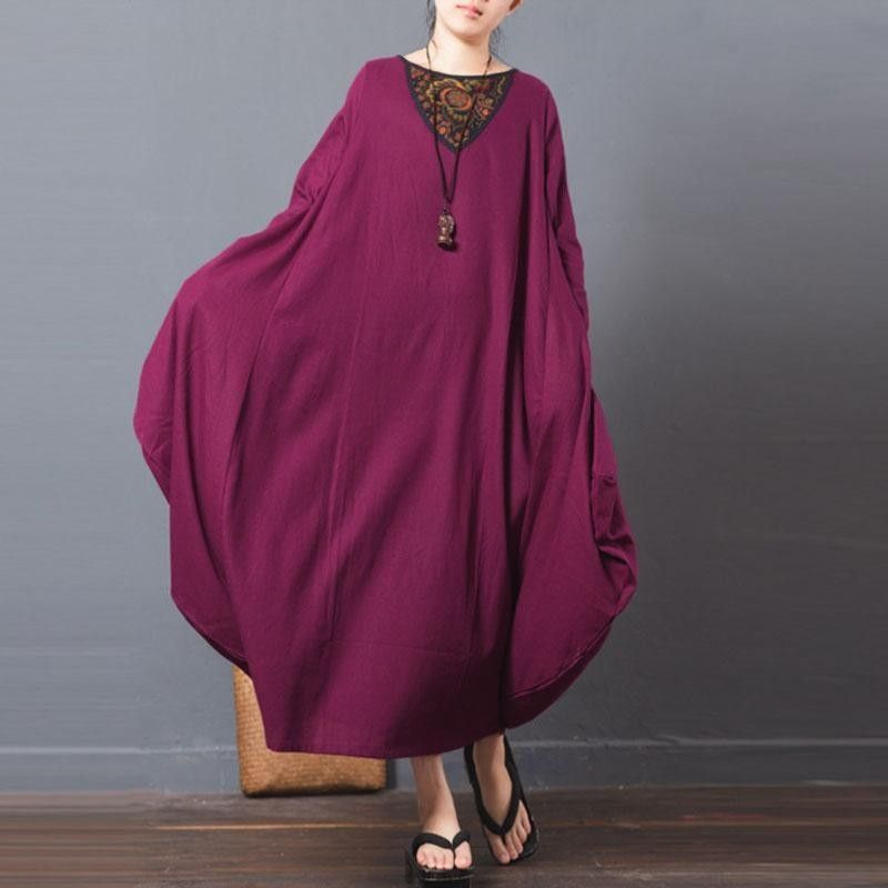 171ca717fa ZANZEA ZANZEA Lady Vintage Vestido Long Sleeve Round Neck Floral Printed  Patchwork Kaftan Ethnic Style Baggy Loose Maxi Dress Plus Size Claret