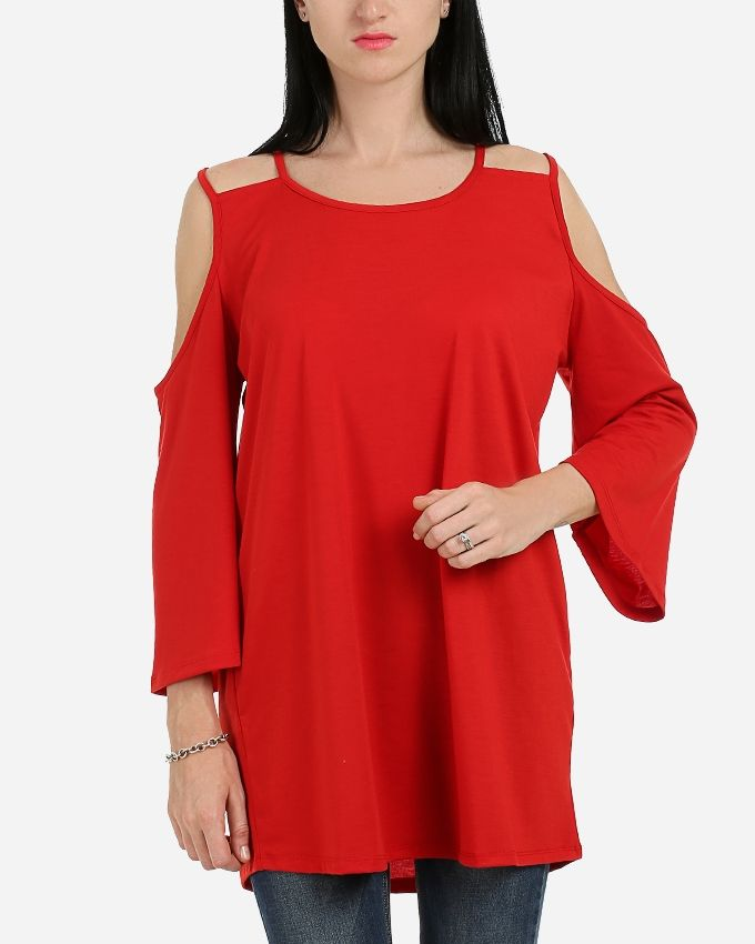 Andora Solid Double Strapless Tunic- Red
