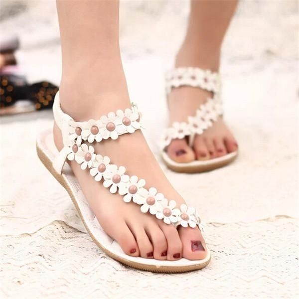 b44518f49b18 Fashion Fashion Summer Flowers Y Shape Womens Bohemia Floral Sandals Flat  Shoes Strappy Beach Flip Flops