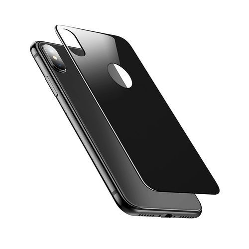 Generic IPhone X Back Tempered Glass Protector 0.3mm 9H Hardness 3D Full Screen Coverage - Black