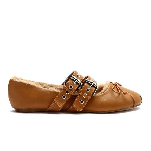 09728f292642 Dejavu Fur Leather Ballerina - Camel