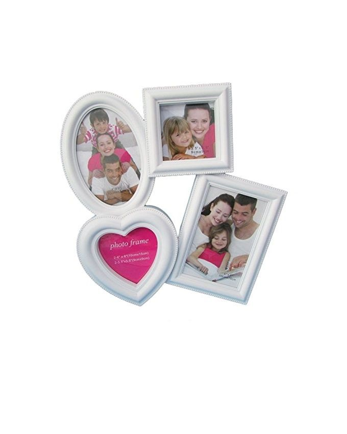 Heart Collage White Frame - 4 Pictures