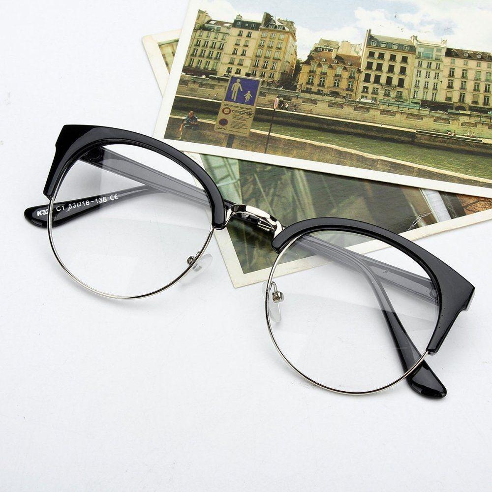43404abff58 Fashion Retro Style Women Men Nerd Glasses Clear Lens Eyewear Round Metal  Frame Glasses