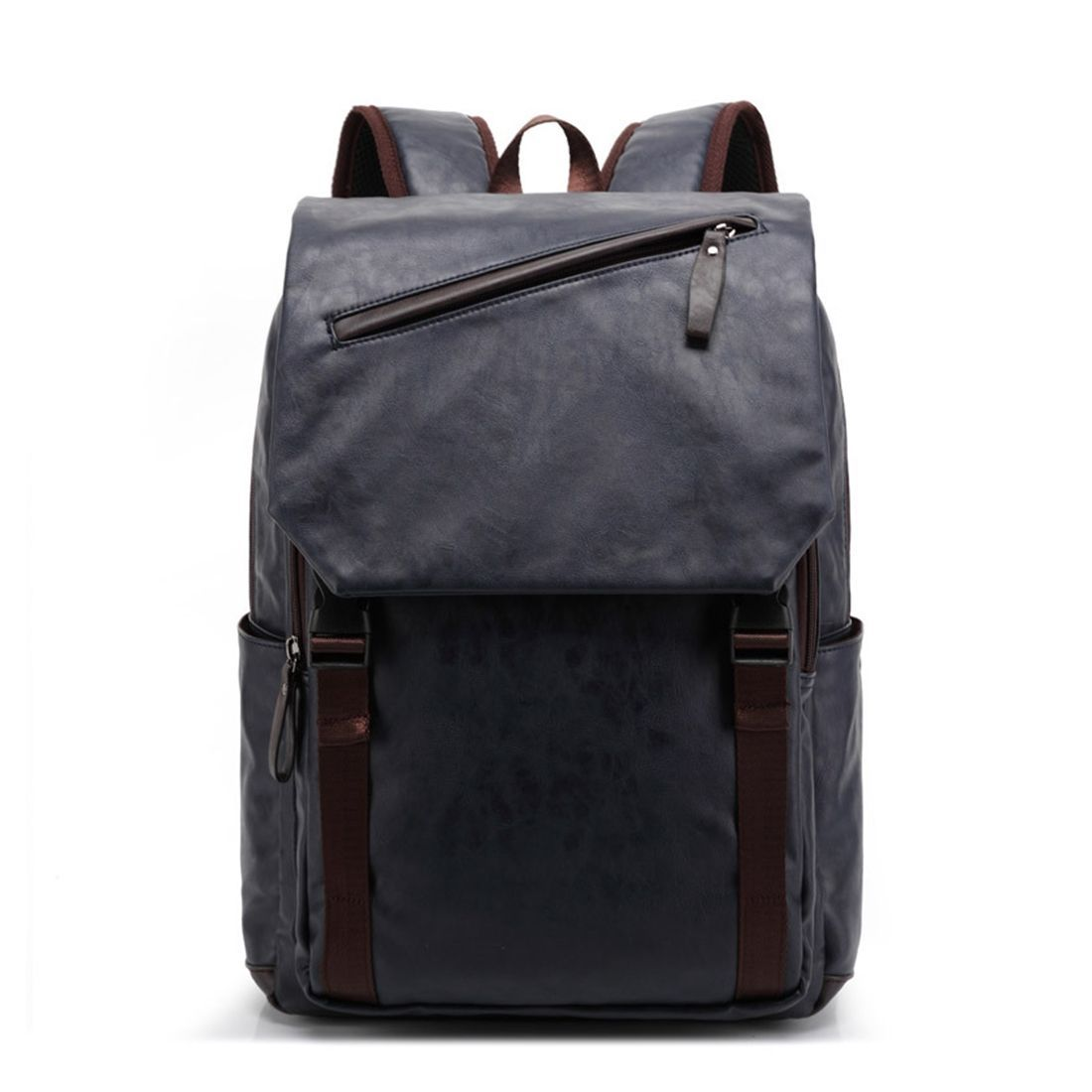 448707295074 Generic Preppy Style Double Layer PU Leather Backpack College School Bag  Travel Bag Mens Bag - Navy Blue