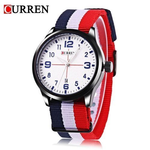 a92aeb2b3 Curren Curren 8195 Men Quartz Watch Date Display Luminous Pointer Water  Resistance Nylon Strap Wristwatch (Blue)