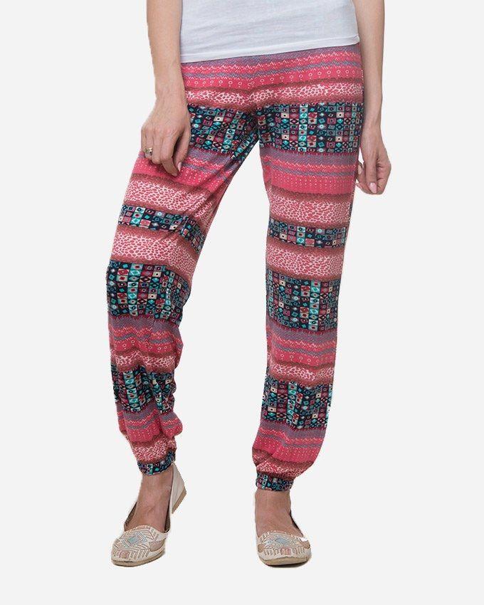 Andora Casual Printed Pants - Watermelon