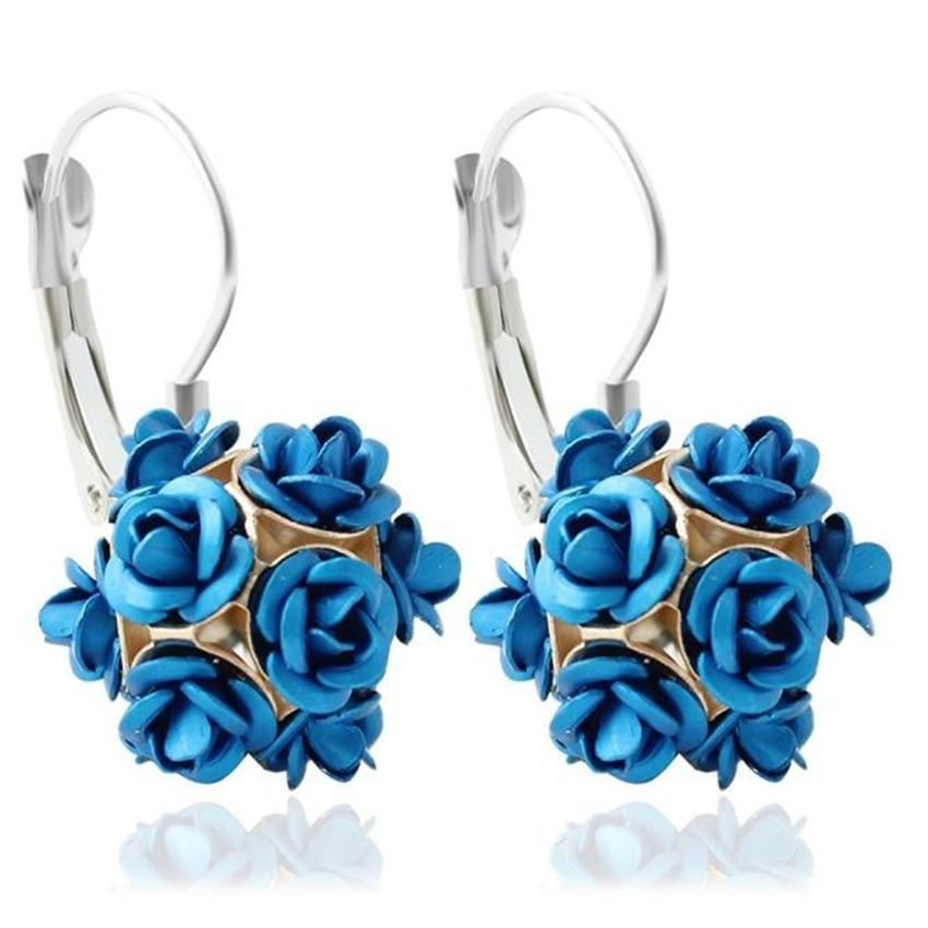 Neworldline New  Fashion Flower Rose Women Girls Crystal Stud Earrings Gift BU-Blue
