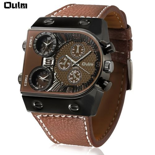 9be0bde3d Oulm Oulm Multi-Function 3-Movt Quartz Leather Wristwatch Men Military  Sports Watch (Brown)