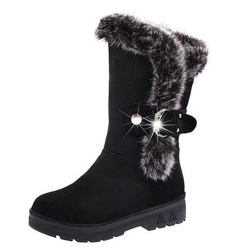 1e591bbefab Neworldline Women Boots Slip-On Soft Snow Boots Round Toe Flat ...