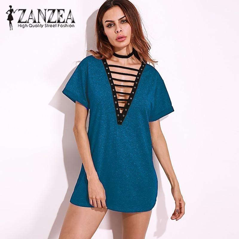 625402e7ba7 ZANZEA ZANZEA Women Dress Tops Sexy Deep V-Neck Hollow Out Blouses Short  Sleeve Shirts Loose Casual Blusas (Blue)