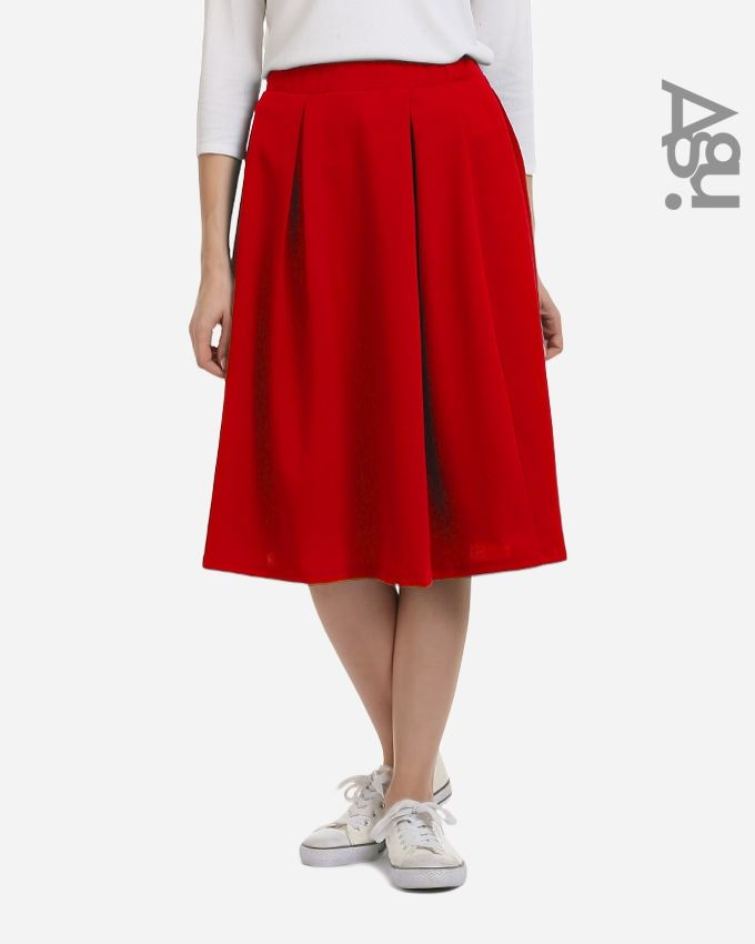 Agu Plain Fashionable Midi Skirt - Red