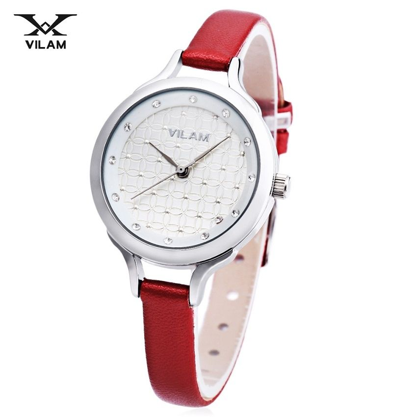 851955688 VILAM V1017L - 01E Female Quartz Watch Artificial Diamond Dial 3ATM Slender  Leather Band Wristwatch (#5)