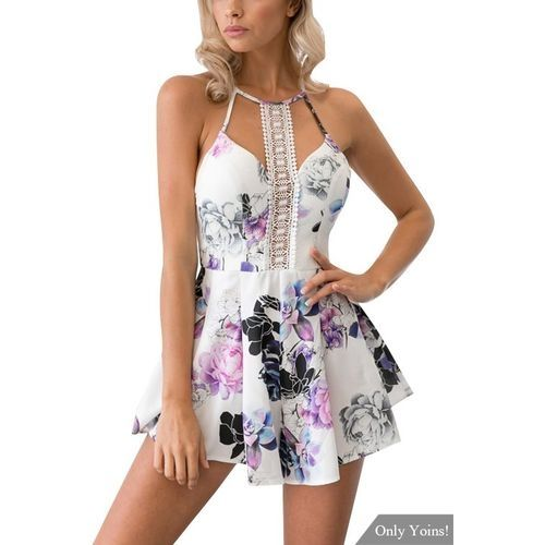 dea2381c5743 Buy Fashion YOINS Sleeveless Lace Playsuit In Floral Print in Egypt