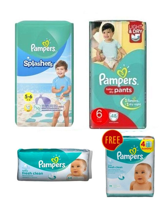 44e09c472884 Pampers Baby Pants Diapers - Size 6 - 48 Pcs - 2 Packs + Splasher ...