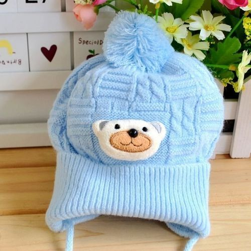 97571c57732 Fashion Baby Boy Girl Winter Warm Braided Knitted Crochet Cartoon Bear Beanie  Beret Hat Blue