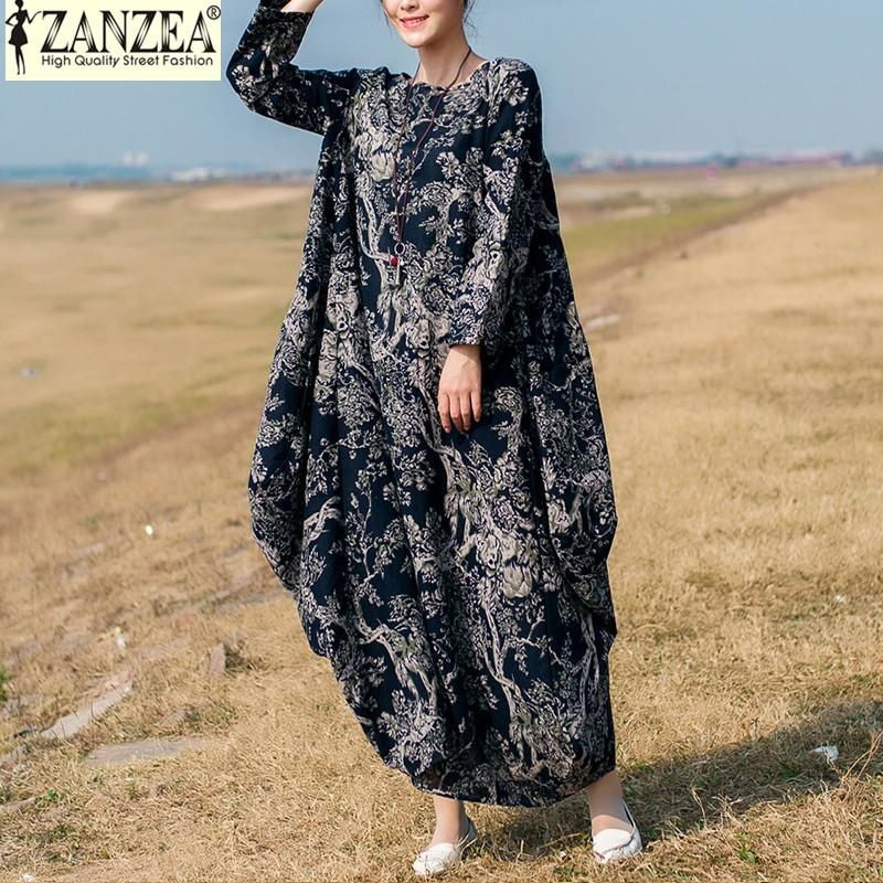 ZANZEA ZANZEA Women Retro Floral Print O Neck Long Sleeve Robe Kaftan Linen Loose Party Casual Maxi Long Dress (Navy)