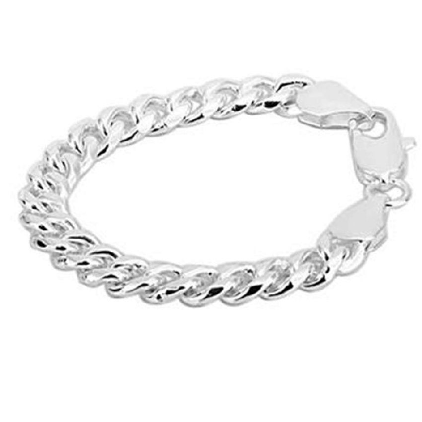 Neworldline New Fashion Type Flat Mens Solid Chain Plated Bracelet Bangle-Silver