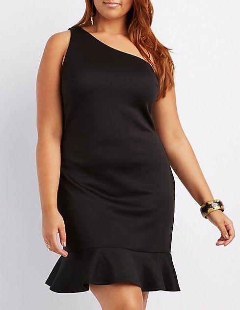 54d5e8b54dd Charlotte Russe Plus Size One-Shoulder Ruffle-Trim Bodycon Dress ...