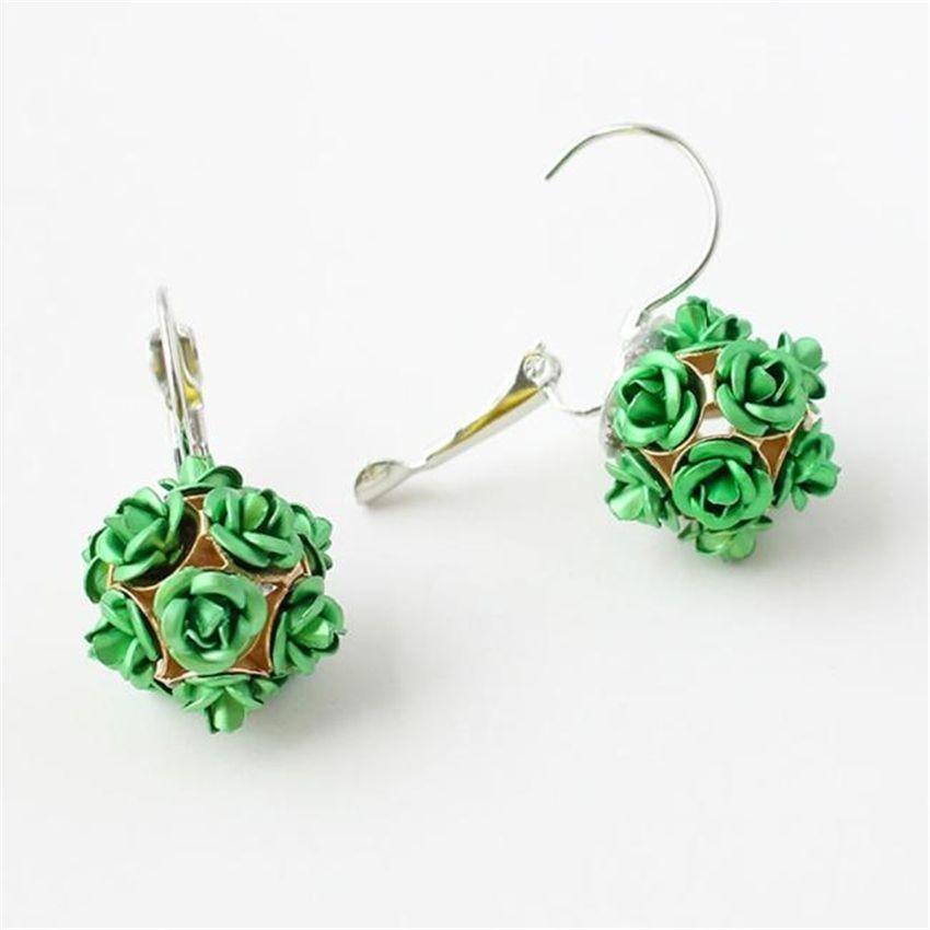 Neworldline New  Fashion Flower Rose Women Girls Crystal Stud Earrings Gift GN-Green