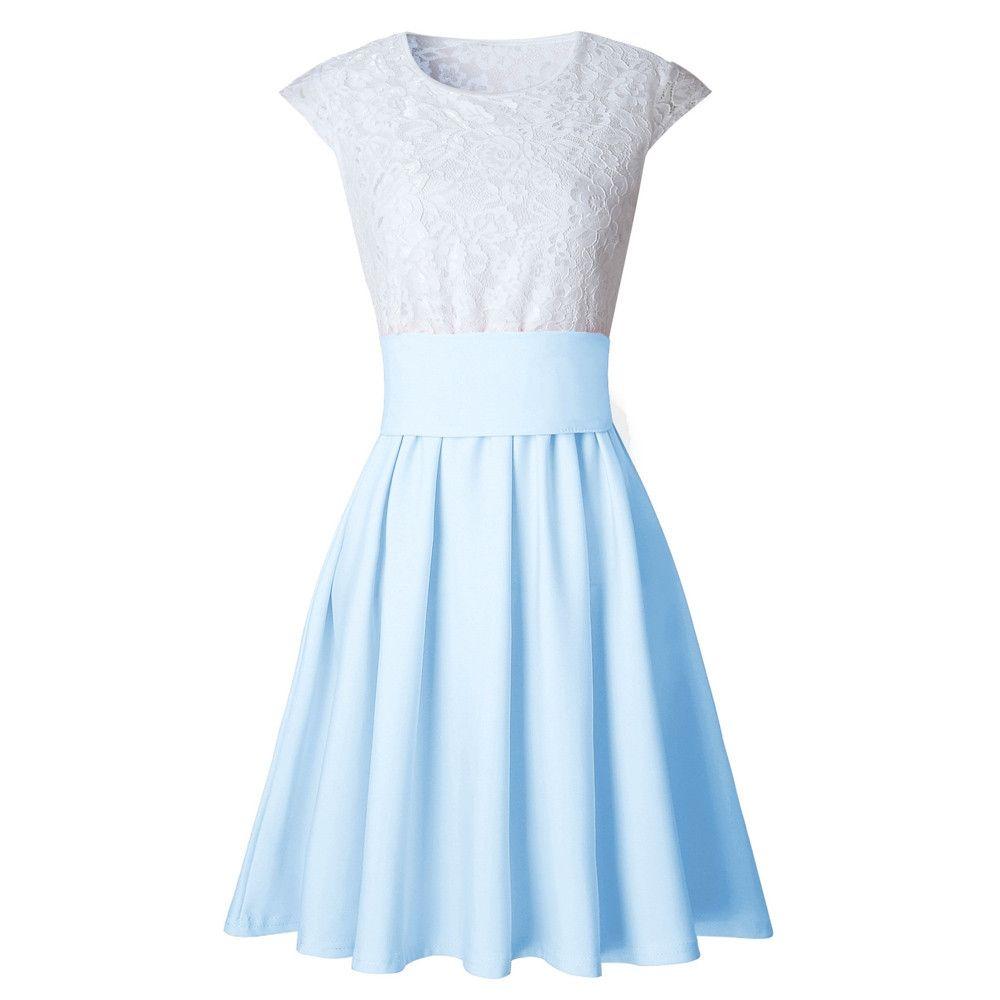 Generic Generic Womens Lace Party Cocktail Mini Dress Ladies Summer Short  Sleeve Skater Dresses 1c7f596fd