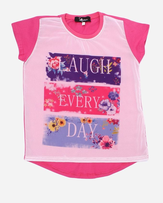 """Andora """"LAUGH EVERY DAY"""" Printed T-Shirt - Watermelon"""