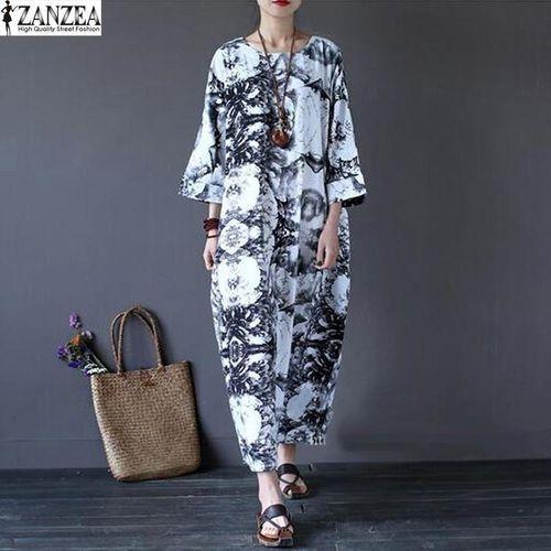 ZANZEA ZANZEA Women Summer Autumn Floral Batwing Sleeve Maxi Long Dress Retro Ladies Tunic Baggy O-Neck Party Club Dress Kaftan (Grey Black)