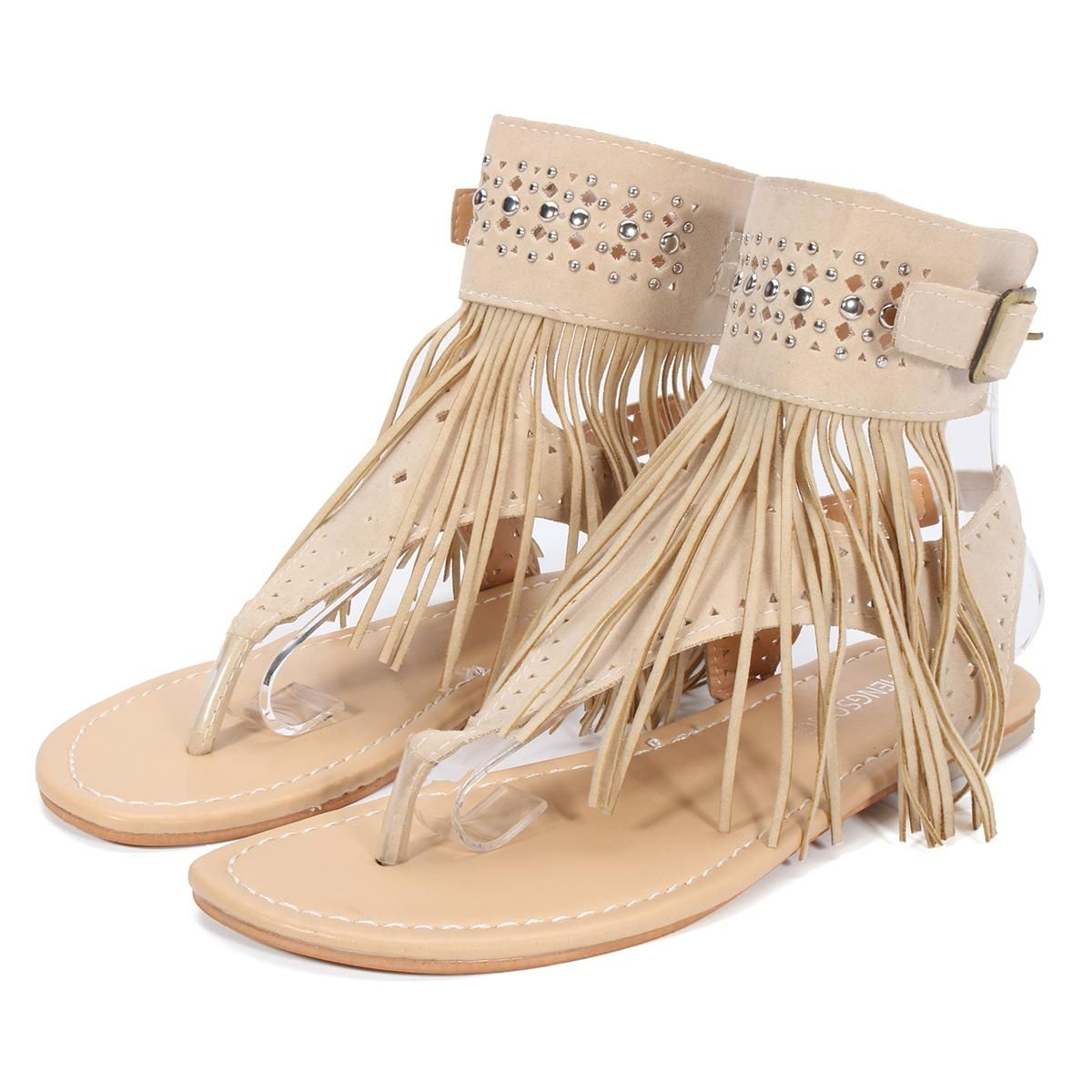 3842da487c5e51 Buy Fashion Fashion Women Summer Tassel Gladiator Buckle Toe Clip Flat  Sandals Bohemian Shoes in Egypt